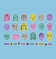 people avatars doodle patches set colorful vector image
