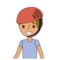 portrait young smiling boy with sport helmet vector image vector image