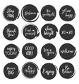 quote set round shape paint blob with slogan vector image