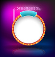 Retro vintage circle frame promotion neon vector image vector image