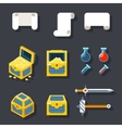 RPG Game Accessories Icons Set Scrolls Treasure vector image