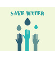 Save water poster concept with drops and hands vector image vector image