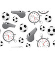 seamless pattern of soccer ball whistle with a vector image vector image