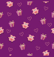 seamless romantic pattern with pig vector image vector image