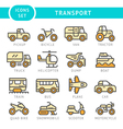 Set color line icons of transport vector image vector image