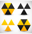 set of geometric radiation sign icons 4 version vector image