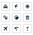set of simple beach icons vector image vector image