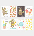 sloth collection set summer cards vector image vector image