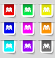 smiling girl icon sign Set of multicolored modern vector image