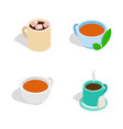 tea cup icon set isometric style vector image