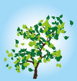 tree with green leaves on blue background vector image vector image