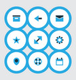 user icons colored set with calendar setting vector image vector image