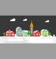 village with snow falling landscape for use as vector image