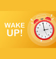 wake up poster with alarm clock stock vector image vector image