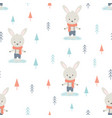 winter pattern cartoon hare vector image vector image