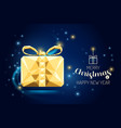 wireframe merry christmas gift box luxury gold vector image