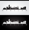 wroclaw skyline and landmarks silhouette black vector image
