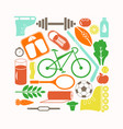 healthy lifestyle and sport icons set vector image