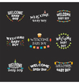 Welcome baby boy Baby shower design Set of labels vector image