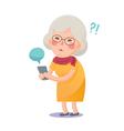 Confused Grandma Using Smart Phone vector image