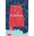 alabama state detailed editable map vector image vector image