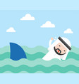 arab businessman swimming to escape shark flat vector image vector image