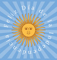 argentina independence day 9 july sun of may rays vector image vector image