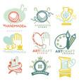 art and handmade craft logo templates flat set vector image vector image
