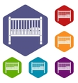 Baby bed icons set vector image vector image