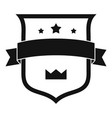 badge crown icon simple black style vector image vector image