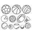 ball sport outline set vector image vector image