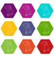 brooding monkey icons set 9 vector image vector image