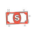 cartoon dollar money icon in comic style dollar vector image