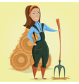 cartoon farmer girl character vector image vector image