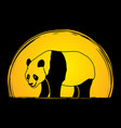 cartoon fat panda standing side view vector image vector image