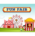 Children buying ticket at fun fair vector image