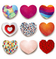 collection of colorful hearts on white background vector image