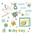 Colorful collection of baby boy announcement vector image vector image