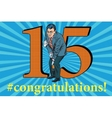 Congratulations 15 anniversary event celebration vector image