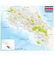 costa rica road and national park map with flag vector image vector image