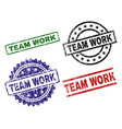 Damaged textured team work seal stamps