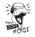dinosaur tyrannosaur in headphones vector image