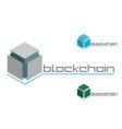 emblem blockchain on white background vector image vector image