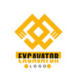 excavator logo backhoe service label vector image vector image