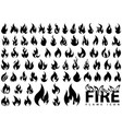 fire flame icons big set vector image vector image