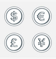 gold coins icon coins with images currencies vector image vector image