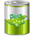 greenpeas in aluminum can vector image vector image
