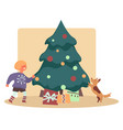 happy kid with dog pet finding presents under vector image vector image