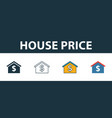 house price icon set four elements in diferent vector image vector image
