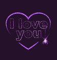 I love you Heart shape of neon vector image vector image